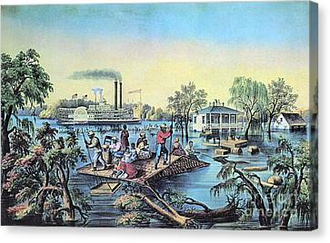 Life On The Mississippi, 1868 Canvas Print by Photo Researchers