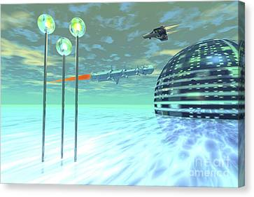 Port Town Canvas Print - Life Under Domes On An Alien Waterworld by Corey Ford