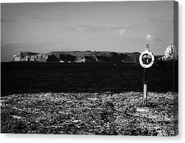 Lifebelt On Rocks At Ballintoy With Moyle Sea And Rathlin Island Canvas Print by Joe Fox
