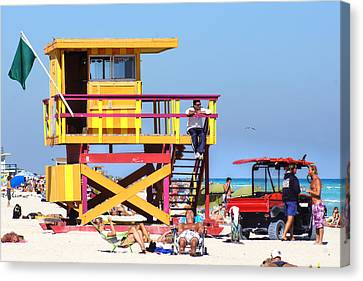 Lifeguard Hut Canvas Print by Dieter  Lesche