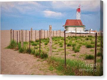 Lifeguard Hut Seen Through Fence Canvas Print