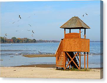 Canvas Print featuring the photograph Lifeguard Lookout by Mark J Seefeldt