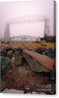 Lift Bridge In Spring Fog Canvas Print