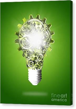 Light Bulb Design By Cogs And Gears  Canvas Print by Setsiri Silapasuwanchai