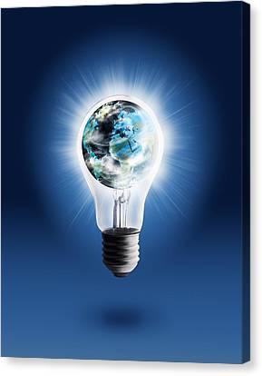 Light Bulb With Globe Canvas Print