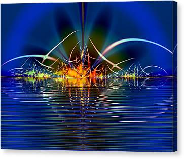 Canvas Print featuring the digital art Light On The Water by Mario Carini