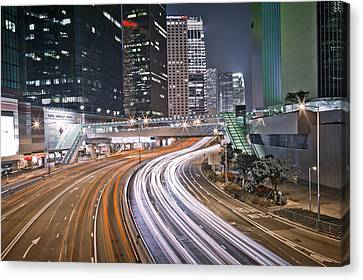 Long Street Canvas Print - Light Trails On Road by Andi Andreas