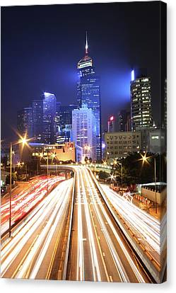Light Trails On Road Canvas Print by From John Chan, johnblog.phychembio.com