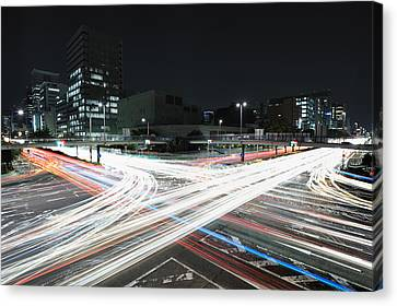 Light Trails On Road Canvas Print by Photography by Shin.T