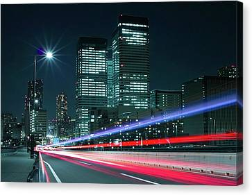 Light Trails On The Street In Tokyo Canvas Print by >>>>sample Image>>>>>>>>>>>>>>
