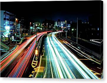 Long Street Canvas Print - Light Trails by Photo by ball1515