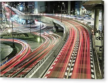 Light Trails Canvas Print by Spiraldelight