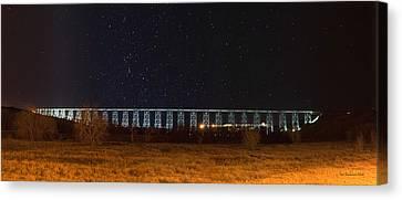 Lighted High Level Bridge Canvas Print by Tom Buchanan