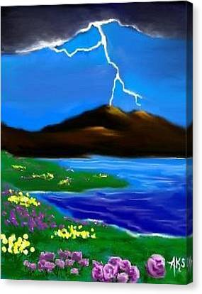 Canvas Print featuring the digital art Lightening by Angela Stout