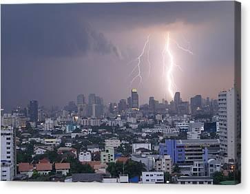 Lightening Strikes Bangkok Canvas Print by Gregory Smith