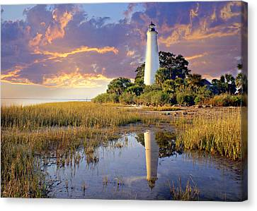 Lighthous Reflection 1 Canvas Print by Marty Koch