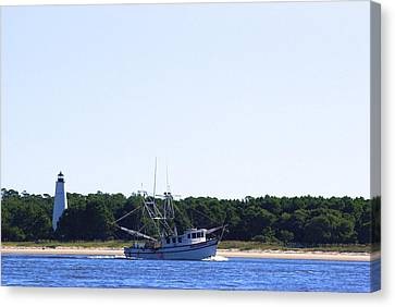 Lighthouse And Shrimp Boat Canvas Print