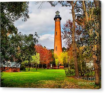Lighthouse At Currituck Beach Canvas Print by Nick Zelinsky