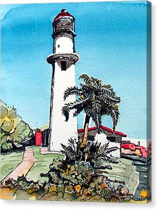 Canvas Print featuring the painting Lighthouse At Diamond Head by Terry Banderas