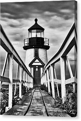 Lighthouse At Nantucket Island I - Black And White Canvas Print by Hideaki Sakurai