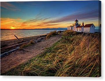 Clouds Over Sea Canvas Print - Lighthouse At Sunset by Photo by David R irons Jr