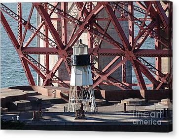 Lighthouse Atop Fort Point Next To The San Francisco Golden Gate Bridge - 5d19001 Canvas Print by Wingsdomain Art and Photography