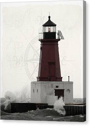 Lighthouse Compass Canvas Print