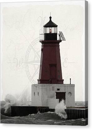 Lighthouse Compass Canvas Print by Mark J Seefeldt