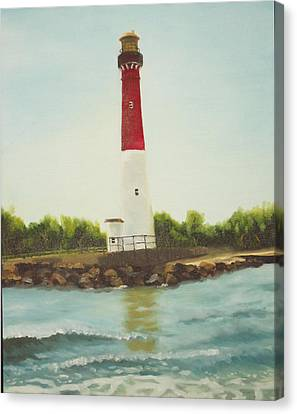 Lighthouse In Long Beach Island Canvas Print by Al Fonollosa