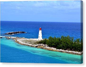 Canvas Print featuring the photograph Lighthouse In Nassau by George Bostian