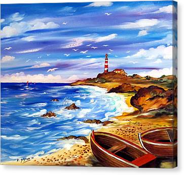 Canvas Print featuring the painting Lighthouse Island by Roberto Gagliardi