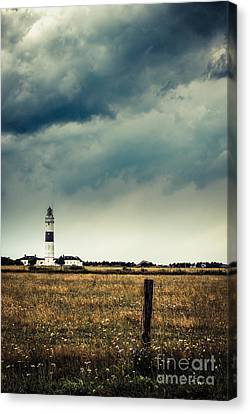 Lighthouse Of Kampen -vintage Canvas Print by Hannes Cmarits