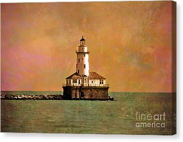 Lighthouse Off Navy Pier Canvas Print by Mary Machare