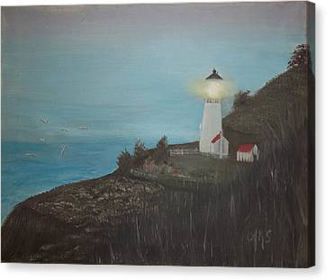 Canvas Print featuring the painting Lighthouse With Birds by Angela Stout