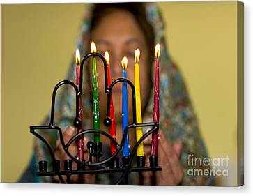 Lighting The Chanukia Canvas Print by Yossi Aptekar