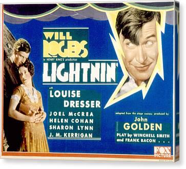 Lightnin, Joel Mccrea, Helen Cohan Canvas Print by Everett