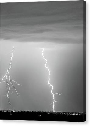 Lightning Bolt With A Fork Bw Canvas Print by James BO  Insogna
