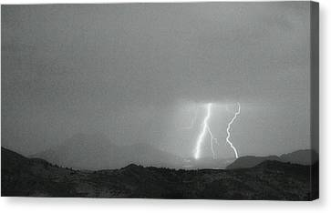 Lightning Bolts Hitting The Continental Divide Bw Crop Canvas Print
