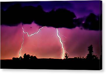 Lightning Over The Plains II Canvas Print by Ellen Heaverlo