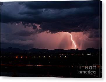 Lightning Strike Canvas Print by Eddie Yerkish