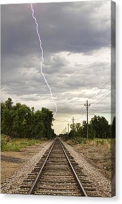 Lightning Striking By The Train Tracks Canvas Print by James BO  Insogna