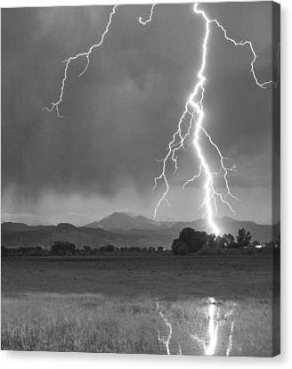 Lightning Striking Longs Peak Foothills 5bw Crop Canvas Print by James BO  Insogna
