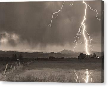 Night Canvas Print - Lightning Striking Longs Peak Foothills 5bw Sepia by James BO  Insogna
