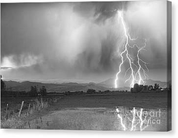 Lightning Striking Longs Peak Foothills 6bw Canvas Print by James BO  Insogna