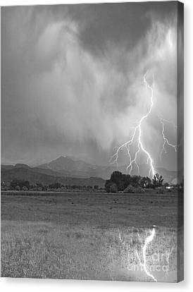 Lightning Striking Longs Peak Foothills 7cbw Canvas Print by James BO  Insogna