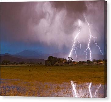 Lightning Striking Longs Peak Foothills 8c Canvas Print by James BO  Insogna