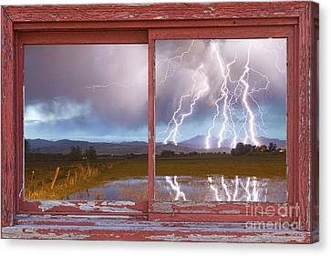 Lightning Striking Longs Peak Red Rustic Picture Window Frame Canvas Print by James BO  Insogna