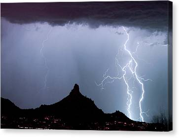 Lightning Thunderstorm At Pinnacle Peak Canvas Print