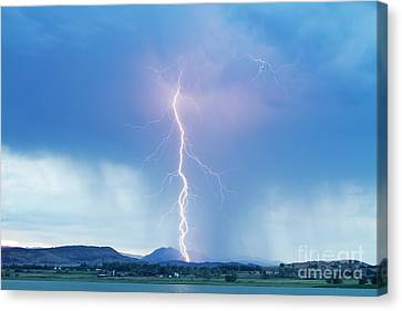 Lightning Twine Striking The Colorado Rocky Mountain Foothills Canvas Print by James BO  Insogna