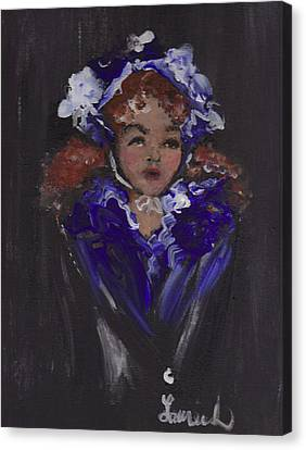 Canvas Print featuring the painting Lil Girl Blue by Laurie Lundquist